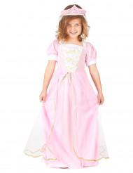 Lyserød prinsessekostume med diadem til piger