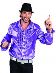Skjorte Disko lilla satin mand