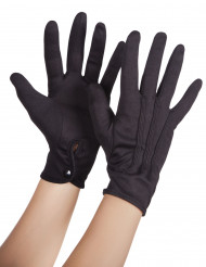 Sorte handsker med knap til voksne