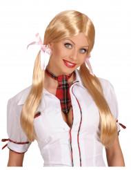 Blond skolepige paryk til dame