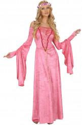 Lyserød middelalder prinsesse udklædning til voksne