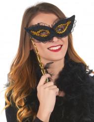 Øjenmaske i sort og guld med blonder og skaft til voksbe