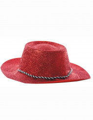 Rød cowgirl hat med palietter