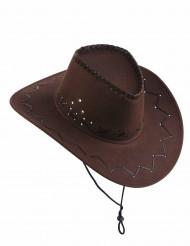 Brun cowboy hat i ruskindseffekt til voksne