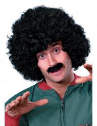 Sort paryk og overskæg til mænd