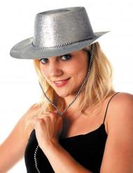 Sølv cowgirlhat med palietter