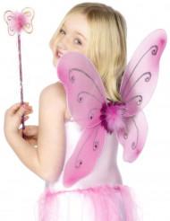 Lyserødt sommerfuglesæt til piger