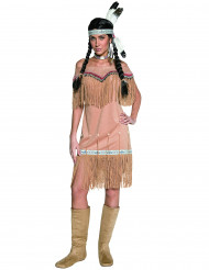 Høvdingedatter - Beige indianerkostume til kvinder