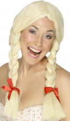 Blond paryk med fletninger til voksne