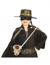 Zorro™-sæt: Plastik sværd maske og hat til børn.