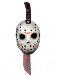 Plastik kniv og maske tilhørende Jason™ fra Fredag den 13™