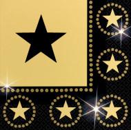 16 papirservietter sort og guldstjerner