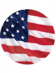8 Tallerkner amerikansk flag 27 cm