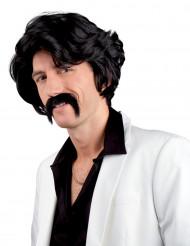 Sort paryk og moustache voksen