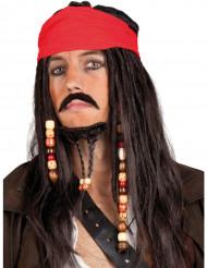 Piratparyk med rødt tørklæde voksen