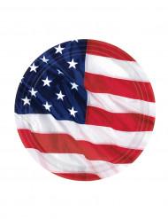 8 Små tallerkner amerikansk flag