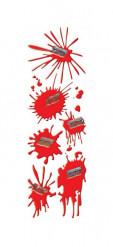 Klistermærker med blodspor