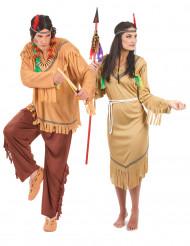 Frynset indianer parkostume til voksne