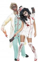 Parkostume zombie kirurg og sygeplejerske til Halloween