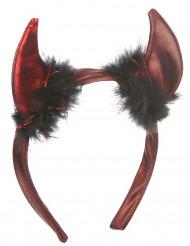 Røde djævlehorn med sort pels - Halloween tilbehør