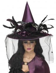 Luksuriøs lilla heksehat voksen Halloween