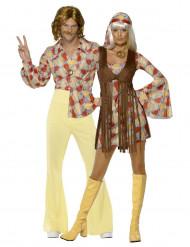 Brunt hippie parkostume til voksne