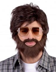 Dude paryk med skæg og moustache voksen