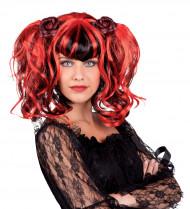 Gotisk paryk sort og rød kvinde