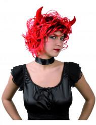 Paryk djævle med horn kvinde Halloween