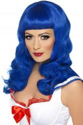 Paryk lang blå kvinde