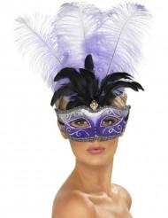 Venetiansk maske lilla med store sorte og lilla fjer voksen