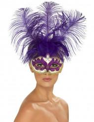 Venetiansk maske lilla med lilla fjer voksen