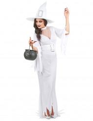 Hvidt Halloween heksekostume til kvinder