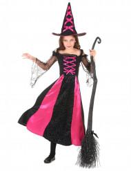 Nattens heks - Sort og lyserødt heksekostume til piger