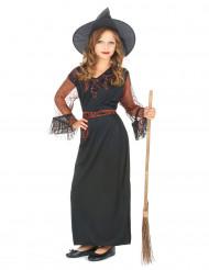 Sort heksekostume Halloween pige