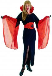 Rød og sort eddekopp heksekostume til kvinder