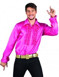 Diskoskjorte lyserød herrestørrelse