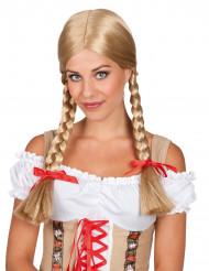 Paryk blond med fletninger til kvinder