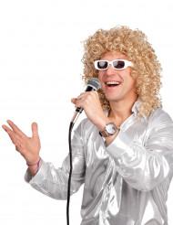 Paryk lokket og blond med hvide briller mand