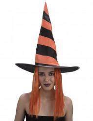 Heksehat med paryk til kvinder til Halloween