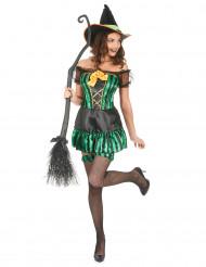 Den smarte heks - Grønt heksekostume til kvinder