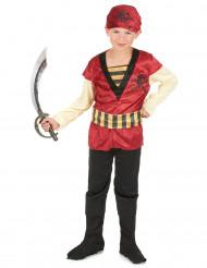 Sylvester - Rødt og sort piratkostume til drenge