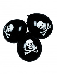 6 Piratballoner i sort