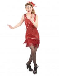 Charlestonkjole i rød glimmer til kvinder