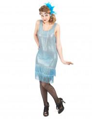 Charlestinkjole i blå glimmer til kvinder