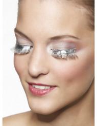 Falske øjenvipper korte og sølvfarvede voksen