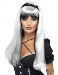 Paryk hvid og sort med sort sløjfe