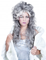 Grå krøllet langhåret paryk kvinde
