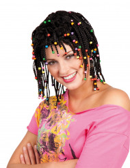 Paryk rasta sort med perler til kvinder