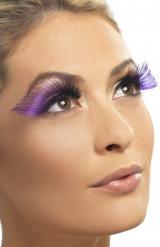 Falske øjenvipper XL sort og lilla voksen